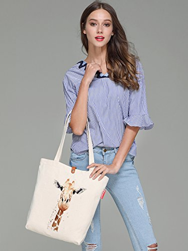 So'each Women's Animal Giraffe Art Graphic Top Handle Canvas Tote Shopping Bag