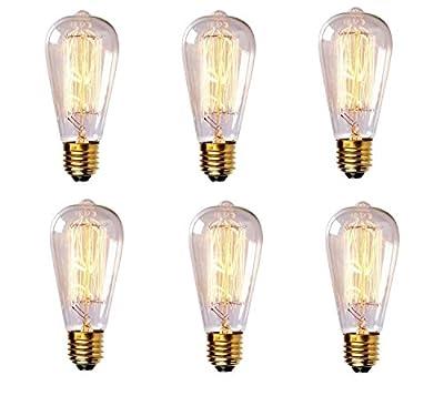 BFU Edison Bulb, Vintage Edison Bulb, 60w Filament Incandescent Bulbs, Clear Glass, Squirrel Cage Design, E26/E27 Medium Base, Pack of 6