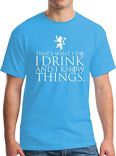 (Winterfell I Drink and I Know Things T-Shirt - Funny Tyrion Lannister GoT Tee Carolina Blue 2XL)
