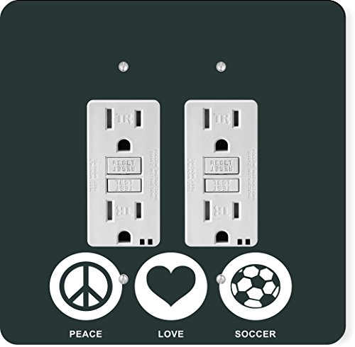 Rikki Knight 42770 Gfidouble Peace Love Soccer Green Color Design Light Switch Plate by Rikki Knight