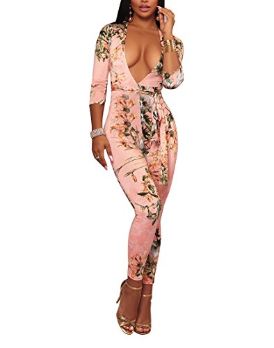 Women's Sexy V Neck Printed Boho Long Sleeve Bodycon High Waist Pants Romper Jumpsuit for Ladies with Belt Pink
