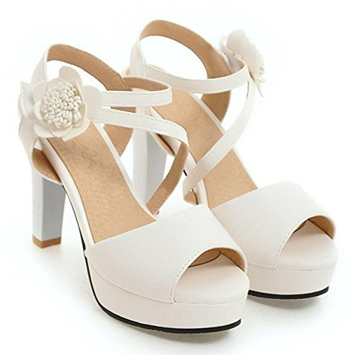 white Femmes Toe Sandales Ete Peep JOJONUNU XBgqFn