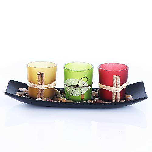 CHICVIE Natural Candlescape Set, 3 Decorative Candle Holders, Rocks and Tray with LED Candles