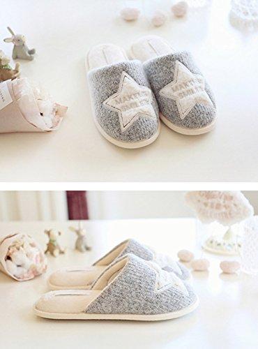 Weiche Kuschelige Gesticktem Damen Minetom Slippers Grau Winter Rutschfeste Sternenmotiv Home Hausschuhe Wärme Plüschschuhe Pantoffeln Plüsch 5ICwY