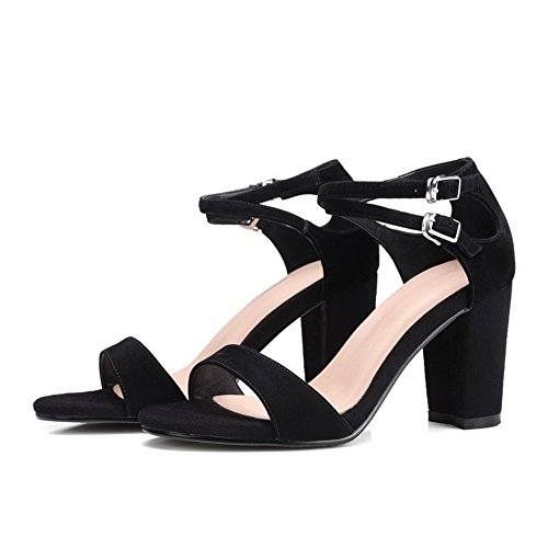 Womens Sandals Chunky MJS02676 Heeled Black Solid 1TO9 Black33 Buckle MJS02676 UK 2 Heels Pleather 4Hwxq8R