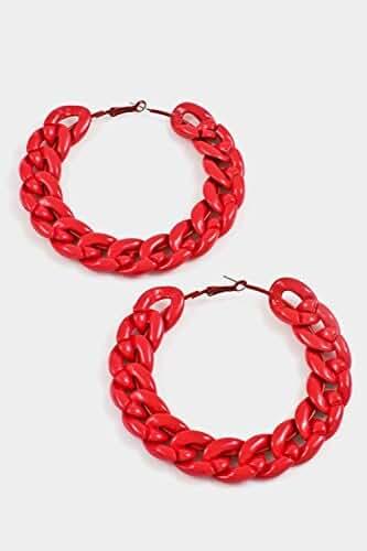 Trendy Fashion Jewelry Chain Hoop Earring By Fashion Destination
