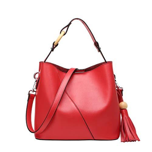Bandoulière Sac Travail Simple Shopping Fashion Fs Fille Cuir Dame Seau À Femme Red wg En Voyage Et Main Avec Intérieur Pour 0Txq5F