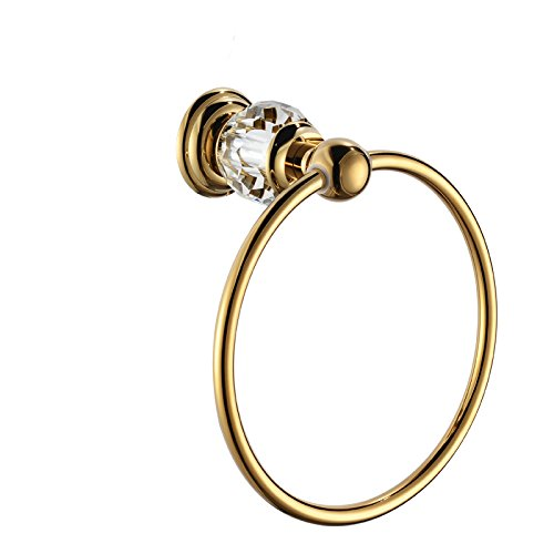 (Gold, QC2103M) Sumin Home QC2203MG Modern Luxury Crystal Wall Mounted Bathroom Towel Ring Holder, Gold B00Z8ONFYQQC2103M