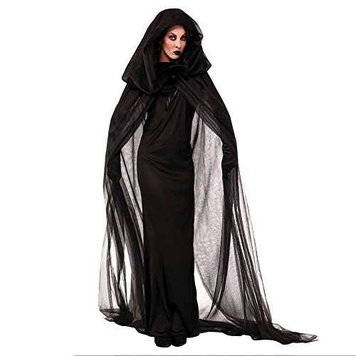 NonEcho Women Black Witch Halloween Costume for Adults 2Pc XXL