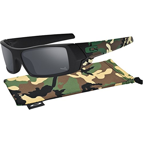Oakley Men's 12-856 Gascan Iridium Polarized Rectangular Sunglasses, Grey/Black, - Sunglasses Cheap Oakley
