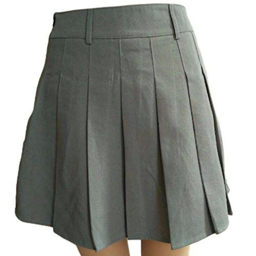 PEPU Women`s check Pleated School Skirt Japanese Asian Costume (XL, gray)