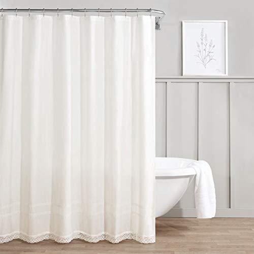 Curtain Cottage Cotton - Laura Ashley Annabella Shower Curtain, 72x72, White