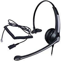 Audicom Wired Headset Headphones Ear Phone + Quick Disconnect for Networks Nt Nothern PBX Norstar M7208 M7310 Polycom Nec Electra Elite DTU DPT Series E Mitel Rolm Voip Ip Telephone(H700RQDRJ1E)