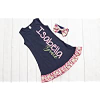 Girl's Navy Personalized Ruffle Dress by Thready Teddy Embroidery - Pink Floral Monogram - Custom Swimming Cover - Embroidered Beach Wear - Cute Name Summer Spring Outfit