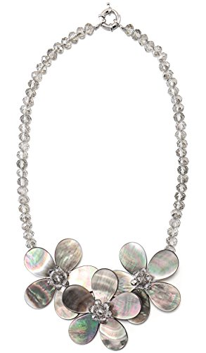 MagicYiMu Sea Shell Flower Crystal Bead Statement Pendant Necklace Jewelry for Women Girls 18''