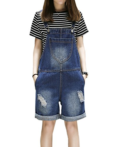 Flygo Women's Plus Size Loose Denim Distressed Bib Overalls Shorts Jean Jumpsuits with Pockets (Medium, Blue)