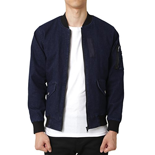 Jacket Denim Varsity - Majeclo Men's MA-1 Snap Pocket Bomber Flight Jacket (XX-Large, Blue Denim)