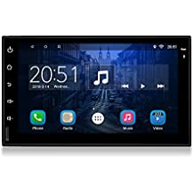 Upgraded Android Double Din 7 Inch Touch Screen car Stereo in Dash GPS Navigation Headunit Car Bluetooth WiFi Radio Audio System Support Steering Wheel Control + Free Rear Camera and Car Tuning Tools