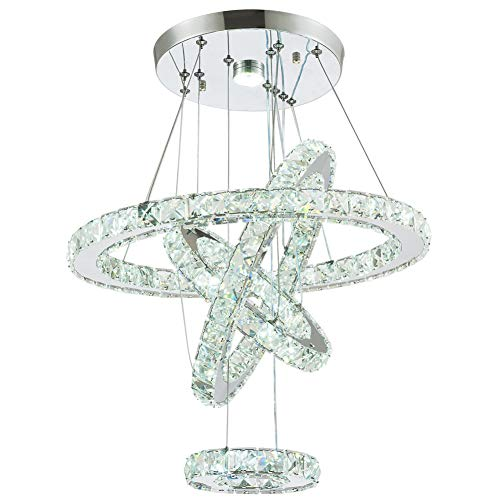 - Modern Crystal Chandeliers LED Chandelier Pendant Lights Chandelier Rings Pendant Light 15/25/35/45cm(6/10/14/18 inches)(Cool White 15/25/35/45)