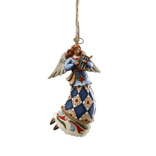 Enesco Jim Shore Heartwood Creek Angel Playing Harp Hanging Ornament, 4-3/4 ()