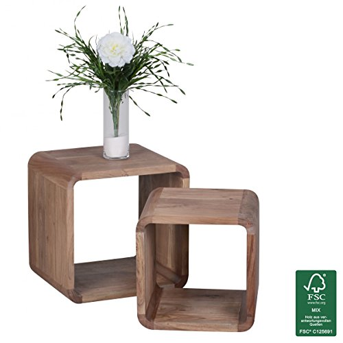 Wohnling wl1.540 Side Table Solid Acacia Wood Nest of Tables Set of 2 Cubes Wall Cubes 43 x 43 x 36 cm Natural (Cube Nesting Tables)