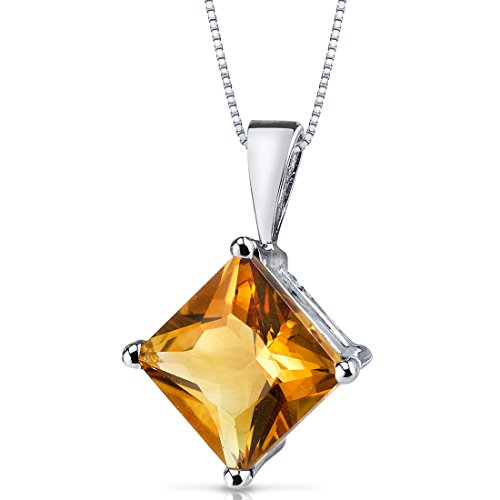 - 14 Karat White Gold Princess Cut 2.25 Carats Citrine Pendant