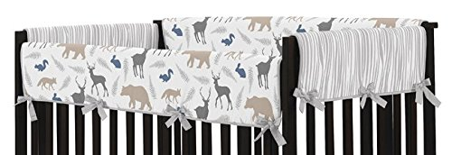 Sweet Jojo Designs Blue Gray and White Woodland Animals Long Front Rail Guard Baby Boy Teething Cover Protector Crib Wrap