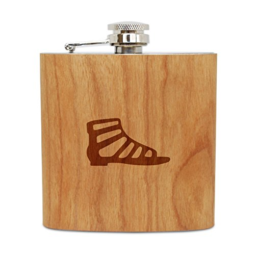 Gladiator Sandle 6 Oz Wooden Flask (Cherry), Stainless Steel Body, Handmade In Usa