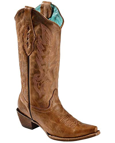 CORRAL Women's Vintage Leather Cowgirl Boot Snip Toe Tan 7.5 M US