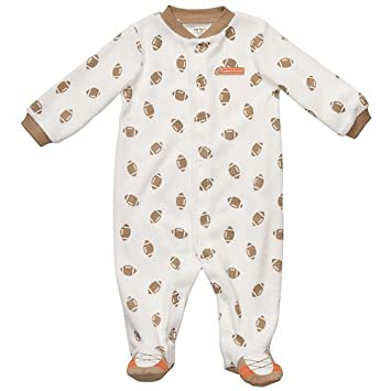 Carters Boys Newborn-9 Months Football Terry Sleep & Play (3 Months, Ivory