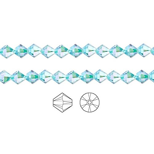 Swarovski Crystal Beads Light Turquoise AB2X 5328 Xilion Bicone 4mm Package of 144