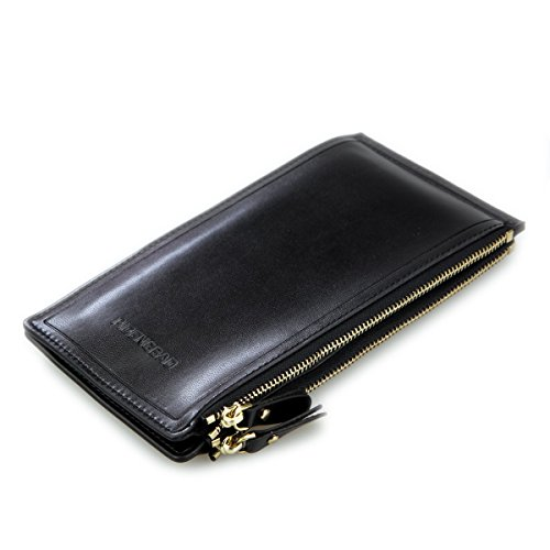 DEEZOMO Multi-function Credit ID Cards Case Long Wallet with Zipper - Black - Id Flap Card Case