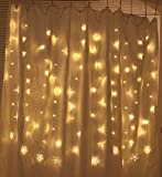 TOFU Fairy Light, 100 LED Window Curtain Lights Plug in String Lights with 10 Stars 8 Flashing Modes Decoration for Party, Wedding, Bedroom, Lawn, Garden, Birthday, Christmas (Warm White)