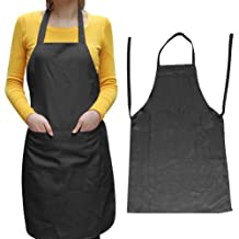 Sodial- Unisex 2 Pocket Black Kitchen Apron Bib, One Size In Medium