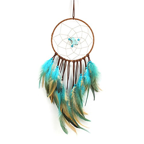 """Bohemian Style Turquoise Dream Catcher Handmade Feather Wall Hanging Ornament Decoration for Room Christmas ~ Length 19.7"""" Diameter 5.9"""""""