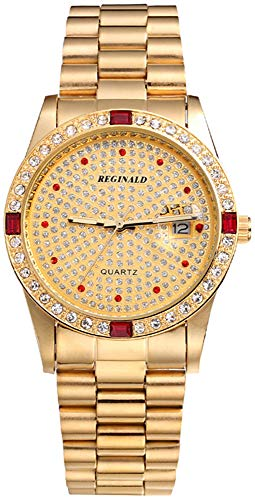 Fanmis Luxury Unisex Diamonds Dial Calendar Gold Tone Stainless Steel Quartz Watch (Gold)