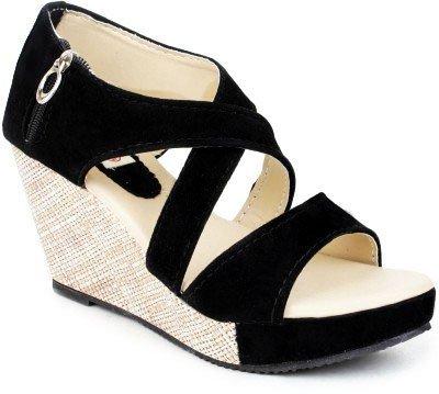 Buy VAGON Wedges Heel Black Cross Sandal with Zip VJ 212 (VJ 212-40 F UK -  8) at Amazon.in
