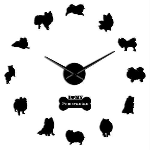 MMLUCK Dog Breed Pomeranian Wall Clock Deutscher Spitz DIY Frameless Wall Clock Big Needle Mirror Effect Acrylic Big Time Clock(Black) 37inch ()