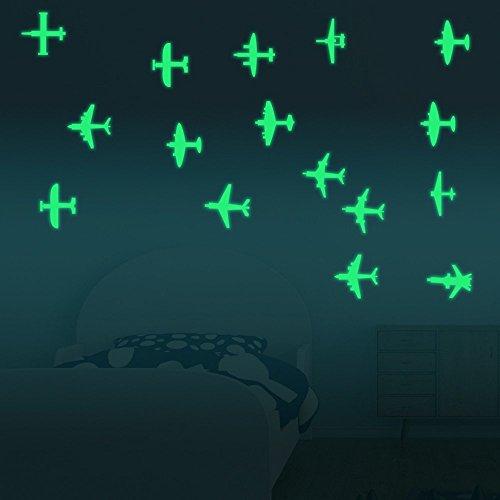Airplane Kids Room Decor - Hysenm Multi-Pattern DIY Luminous Acrylic Removable Wall Sticker Decorative Adhesive Wall Decal Living Room Nursery Bedroom Café Children Room Decor, planes