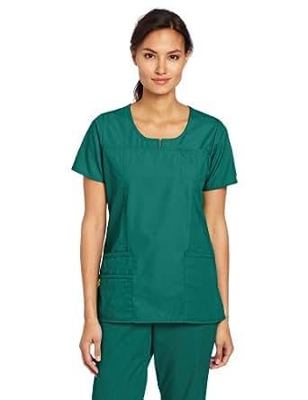 WonderWink Women's Scrubs Round Neck Chest Pocket Top, Hunter Green, XX-Large