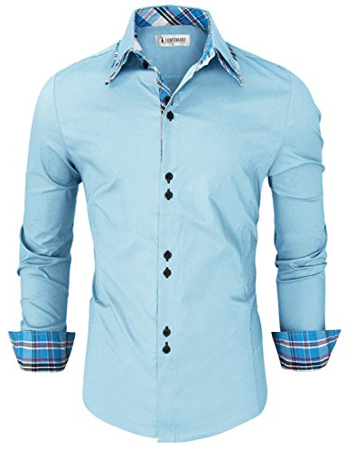 Tom's Ware Mens Trendy Slim Fit Inner Checkered Button Down Shirt