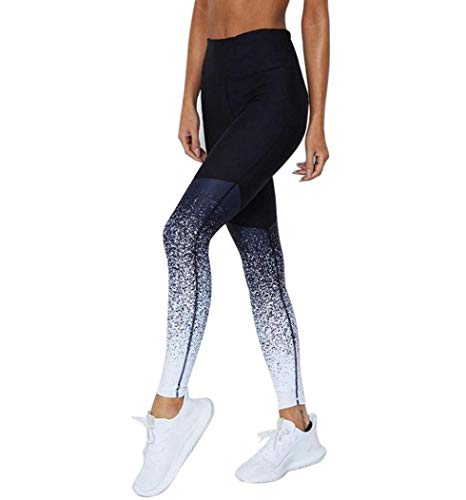 iYBUIA 2018 Women Gradient Color Sports Yoga Workout High Waist Running Pants Fitness Elastic Leggings(Blue,XL)