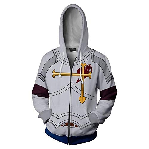 Mikucos Fairy Tail Jacket Coat Hooded Hoodie Sweater Costume Cosplay Erza Scarlet 2XL]()
