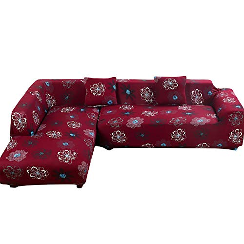 Beacon Pet L Shape Sofa Covers Sectional Sofa Cover 2pcs Polyester Fabric Stretch Slipcovers + 2pcs Pillow Covers for L-Shape Couch - Sea of Flowers Color (L-Shape 3+3 Seats)
