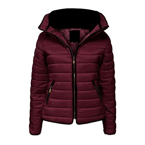 Wine SIZES XXL Jacket Bubble Malaika Womens Quilted Ladies Coat Small Collar in Puffer Thick Padded Available Warm Fur PLUS to qqZHUwS