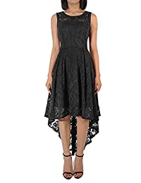 Women's Floral Lace Sleeveless Hi-Lo Cocktail Bridesmaid Formal Dress