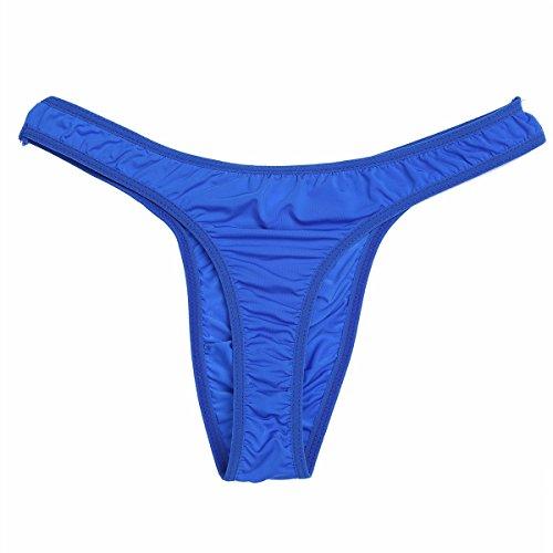 3230fbeda6 FEESHOW Men s Silky Bikini Thongs G String Pouch Underwear Swimwear Blue  X-Large (Waistline