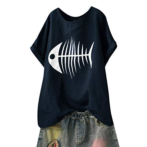 ♡QueenBB Womens Ladies Summer Short Sleeve Blouse Casual Fun Fishbone Print Tank Tops T-Shirt ()