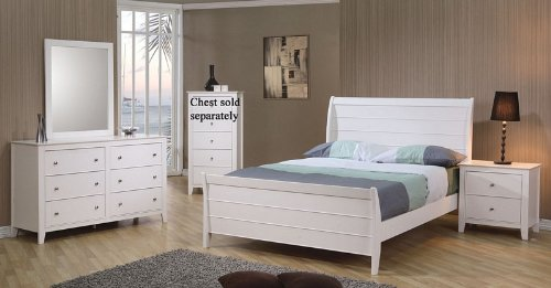 4pc Full Size Sleigh Bedroom Set Cape Cod Style in White Finish (Bedroom Cod White Furniture Cape)