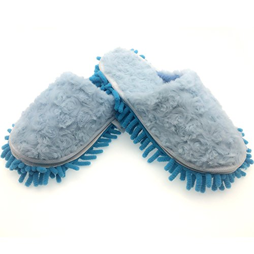 Selric Washable & Detachable Chenille Mop Slippers, Floor-Cleaning Dusting Slippers, House Cleaning Tool, Two Pairs of Mop Soles Included 9 7/9